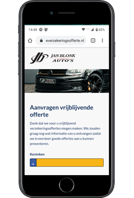 Verzekeringsformulier Jan Blonk Auto's